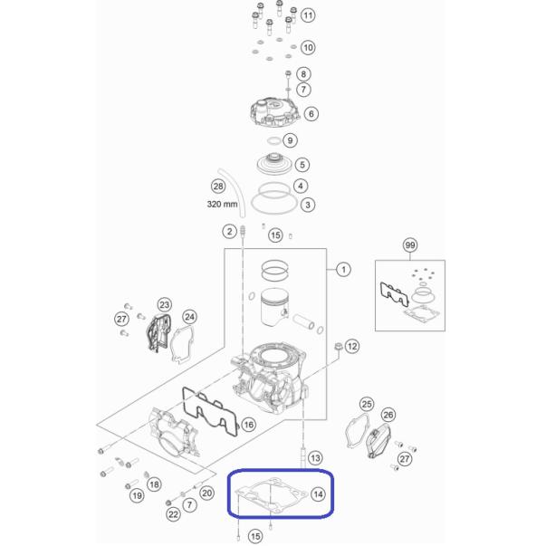 Junta Base Cilindro 0.40mm KTM SX...