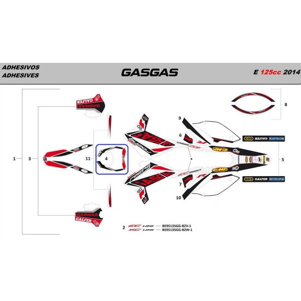 Adhesivo Faro Gas Gas Racing 2014