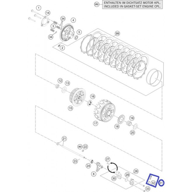 Perno Hueco con Rosca Interior KTM EXC 125 99-... Husqvarna TE 125 14-16 TC 125 14-15 Husaberg TE 125 12-14