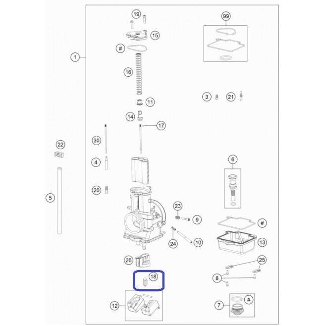 Aguja Flotador KTM Carburador Mikuni