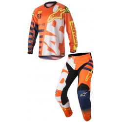 Set Alpinestars Racer Braap 2018 Naranja Flúor/Azul