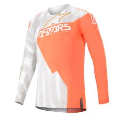 Jersey Alpinestars Techstar Factory Metal 2020 Blanco/Naranja Flúor/Oro