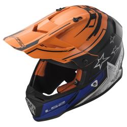 Casco LS2 MX437 Fast Core Negro/Naranja