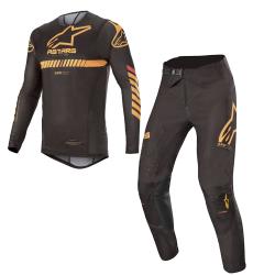 Set Alpinestars Supertech 2020 Negro/Naranja Flúor/Rojo
