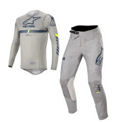 Set Alpinestars Supertech 2020 Gris/Azul Oscuro/Amarillo Flúor