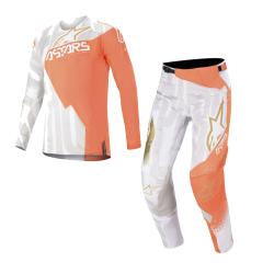 Set Alpinestars Techstar Factory Metal 2020 Blanco/Naranja Flúor/Oro